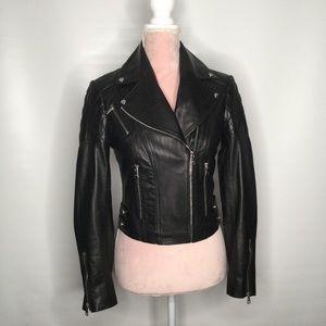 Bebe lamb leather biker jacket.